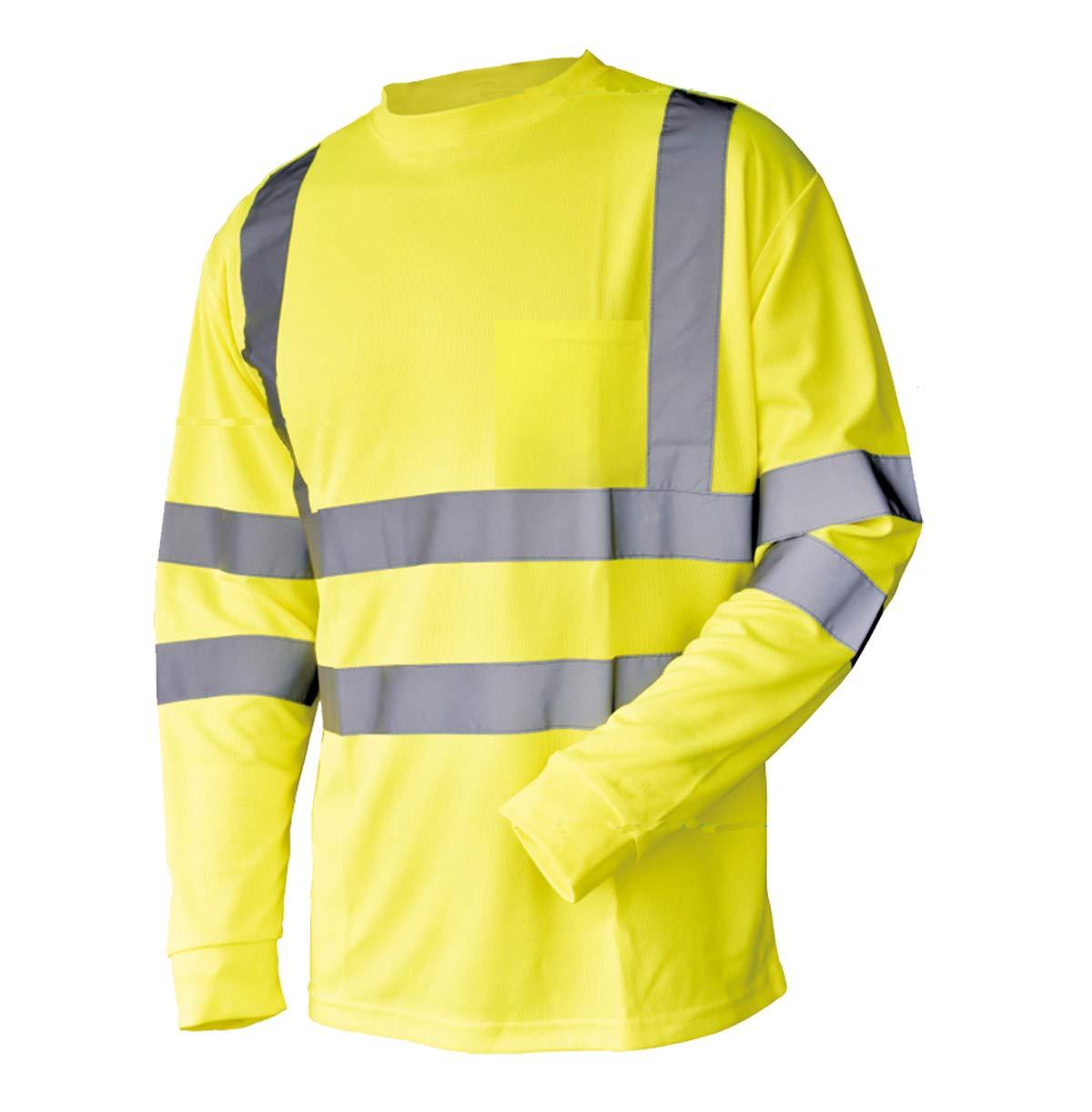 L&M Hi Vis T Shirt ANSI Class 3 Reflective Safety Lime Orange Short Long Sleeve HIGH Visibility (XL, Lime_L)