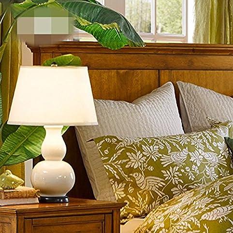 KAI Keramik Tischlampe Neu Chinesische Kürbis Keramik Tischlampe Klassisch  Modern Minimalistisch Schlafzimmer Nachttisch, Milch Weiß