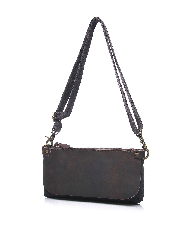 Dig dog bone Ladies Messenger Bag Leather Shoulder Hand Zipper Multi-functional Oil Bag Cross Section Canvas Bag Color : Blue, Size : S
