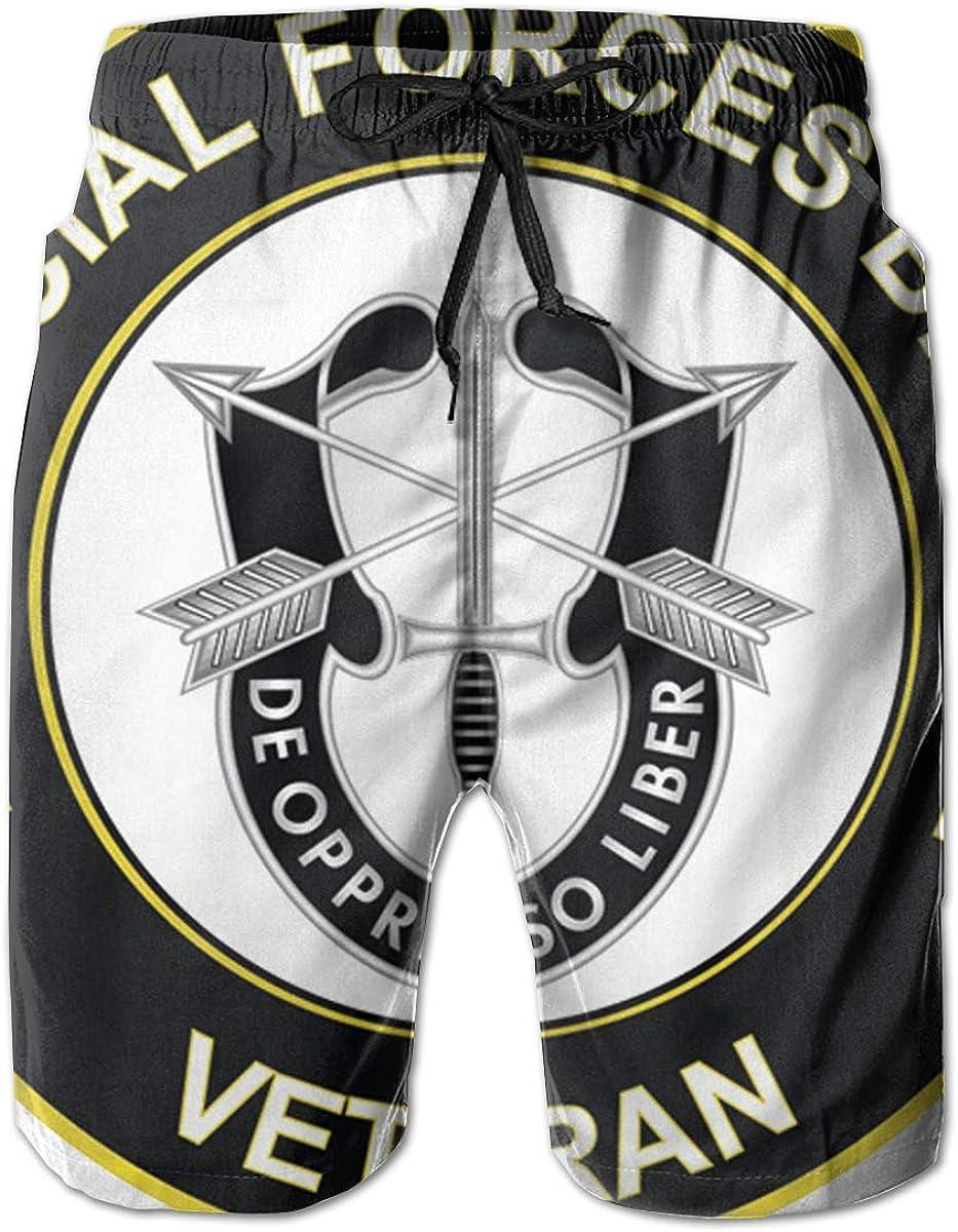 U.S Army 1st Special Forces Brigade Unit Crest Veteran Mens Casual Classic Fit Short Summer Beach Shorts