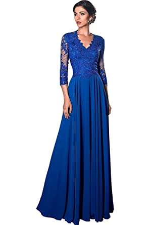 Banfvting Womens Formal Dress Royal Blue A Line Lace Long Evening