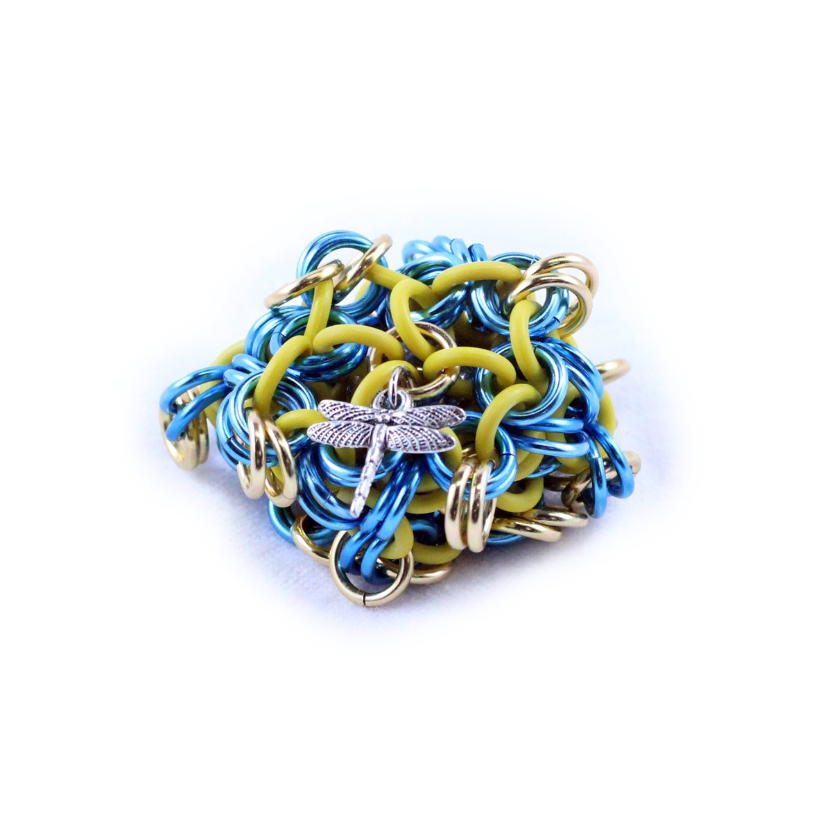 Dragonfly Footbags Blue, Gold and Yellow 22 Gram Chainmail Footbag (Hacky Sack)