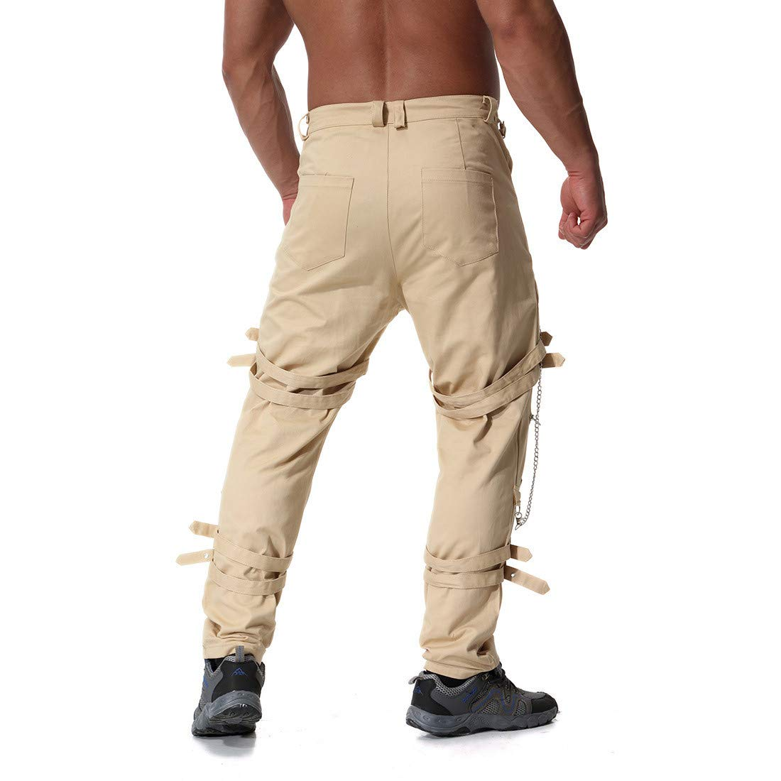 Mens Plus Size Multi Zipper Cotton Vintage Casual Trouser Long Pants Army Green, 35 Memela Clearance!