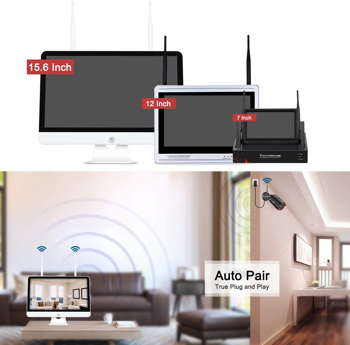 All-in-One Wireless Security Camera System with 15.6 Inch Monitor, 4 Channel 1080P Waterproof Indoor Outdoor Wireless Surveillance IP Camera, ANRAN Remote Home Monitoring System 1TB HDD, Plug Play