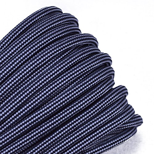 Bored Paracord - 1', 10', 25', 50', 100' Hanks & 250', 1000' Spools of Parachute 550 Cord Type III 7 Strand Paracord Well Over 300 Colors - Silver with Black Stripes - 10 Feet -