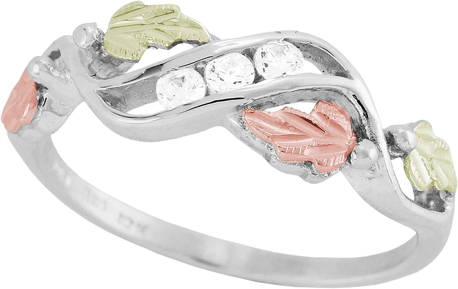 Slim-Profile Cubic Zirconia Ring, Sterling Silver, 12k Green and Rose Gold Black Hills Gold Motif
