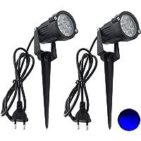 2 Packs, 5W LED Impermeable IP65, Luz de Paisaje al Aire Libre AC 85-265V Focos de exterior con enchufe, de iluminación…