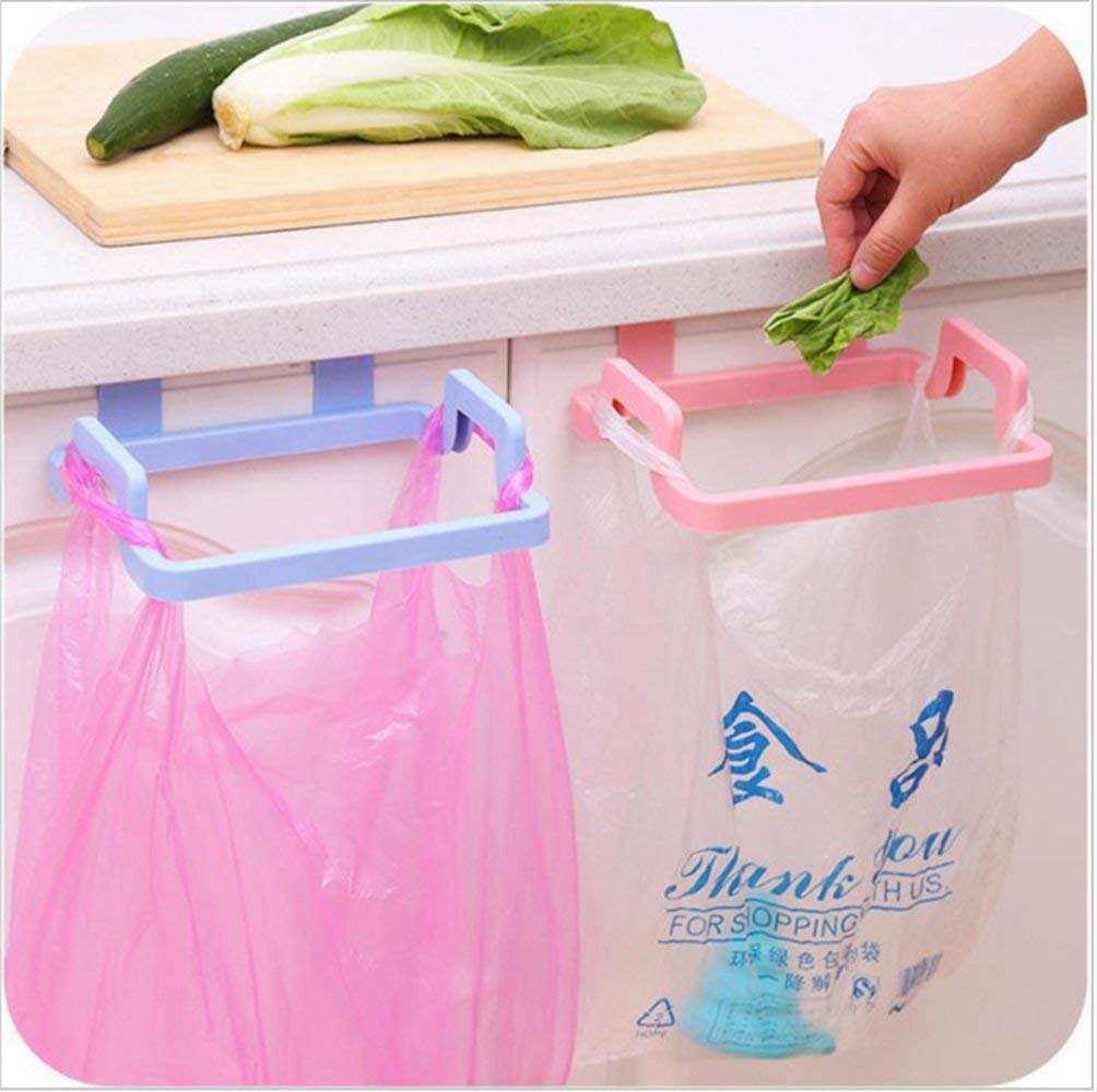 Two random color polybags  attached to trash holder in the picture,a great kitchen tool