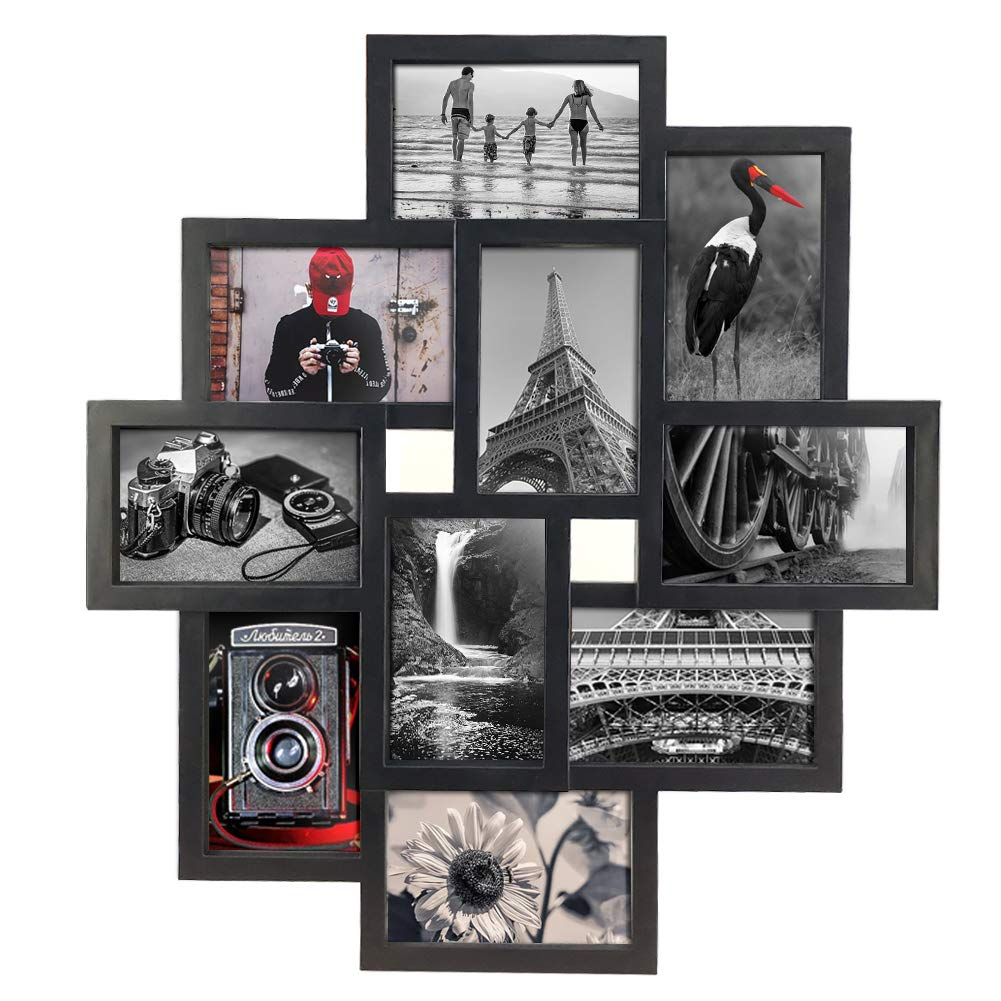 10 Opening 4x6 Black Collage Picture Frame Wall Hanging for 4 by 6 inch Multiple Photo Frames by Amazing Roo