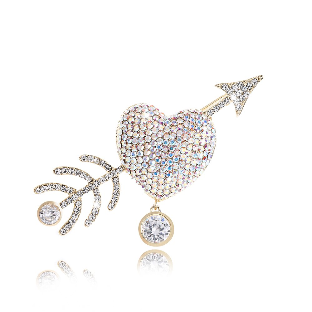 Heart Brooch Pin for Valentines Day Gifts Cupid's Bow Arrow Cubic-Zirconia CZ Rhinestone Anniversary Jewelry For Women