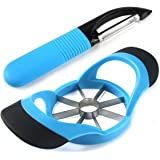 LEMCASE Apple Cutter Slicer & Peeler Set with Silicone Good Grips - Blue and Black