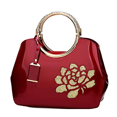 a89a2e2f7b3b ... Handbags Patent Leather Embossed Shoulder Bag With Adjustable Shoulder  Strap For Women EB06 Burgundy Handbags Amazon ...