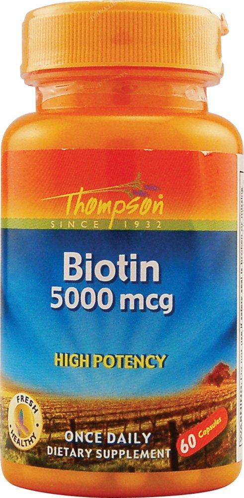 Thompson Biotin Capsules, High Potency, 5000 Mcg, 60 Count