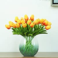 """Artificial Flowers 30pcs Bouquet 14"""" Tall Real Touch Tulips, Orange PU Fake Tulips Flowers for Arrangement Wedding Party…"""