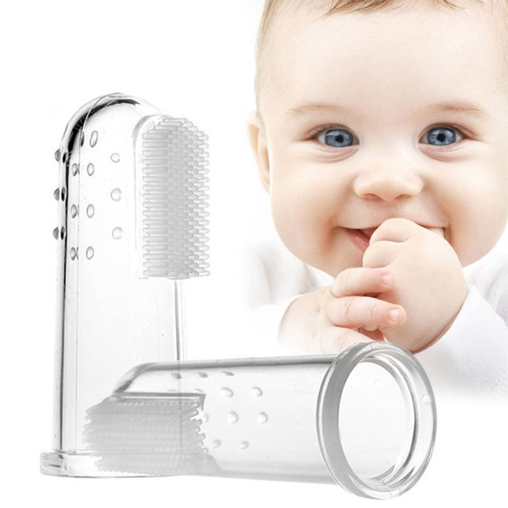 NNIUK Baby Finger Toothbrush Set Safe Soft Silicone Clear Gum Brush Massager with Clear Case For Kid Infant Pack Of 3