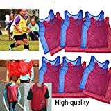 Adorox 12 Pack Youth Scrimmage Team Practice Nylon Mesh Jerseys Vests Pinnies for Children Sports Football, Basketball, Soccer, Volleyball … (Red and Blue, 12 pack)