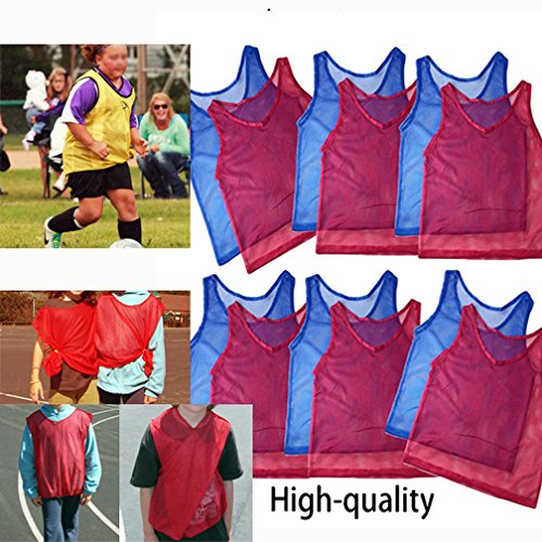 Youth Mesh Scrimmage Vest - Adorox 12 Pack Youth Scrimmage Team Practice Nylon Mesh Jerseys Vests Pinnies for Children Sports Football, Basketball, Soccer, Volleyball … (Red and Blue, 12 pack)