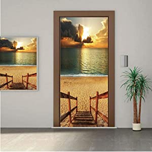 """Beach ONE Piece Door Stickers,Dramatic Beach Scenery with Majestic Rain Cloud Horizon Heaven Paradise Theme 32x95"""" Peel & Stick Removable Wall Mural,Decal,Poster for Door/Wall/Fridge Home Decor"""