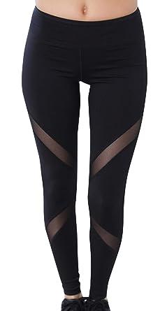 FEOYA Mujer Leggings Deportivo Pantalones con Malla ...