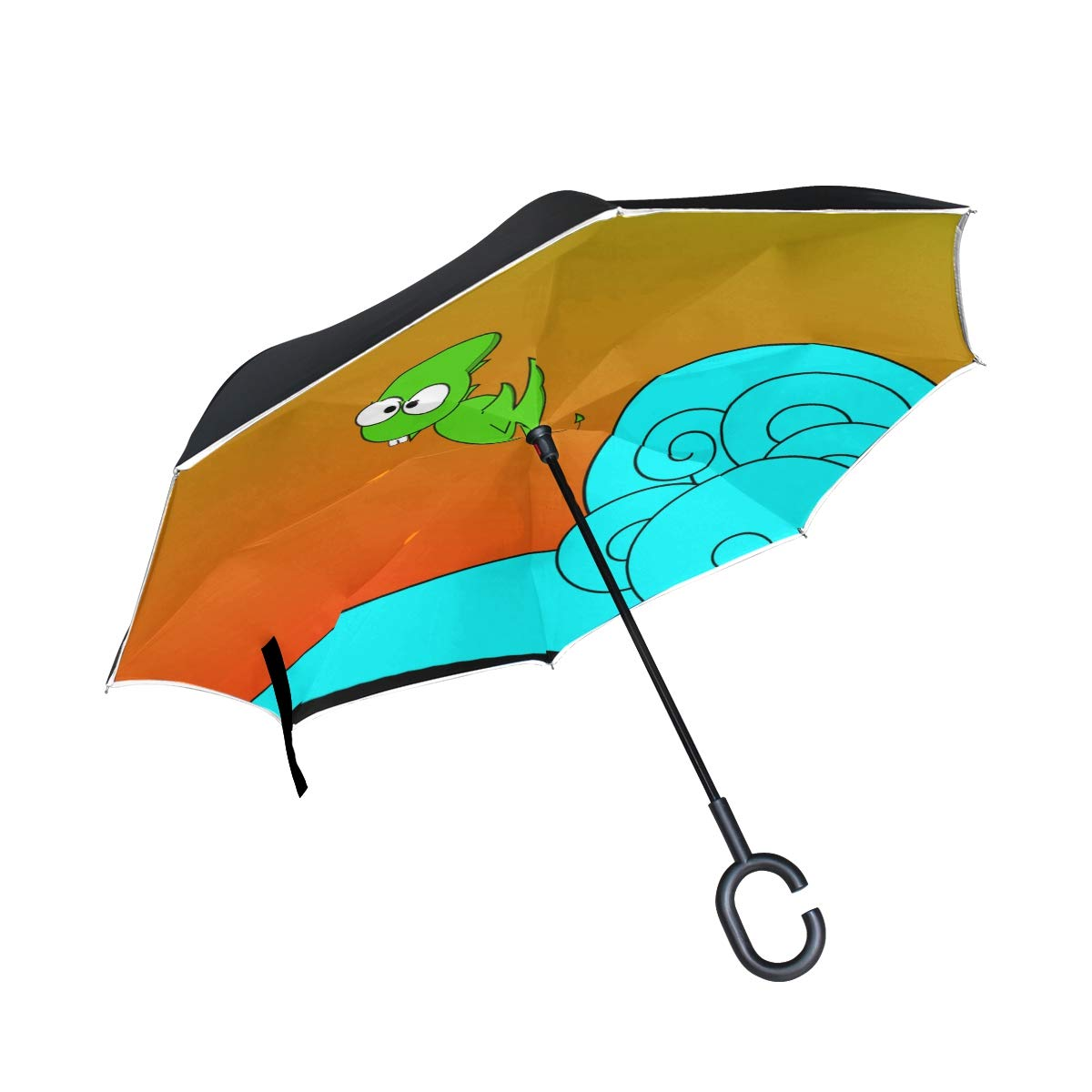 Jnseff Double Layer Inverted Dragon Dino Dinosaur Fun Pterodactyl Wave Surf Umbrellas Reverse Folding Umbrella Windproof Uv Protection Big Straight Umbrella for Car Rain Outdoor with C-Shaped Handle by Jnseff (Image #1)
