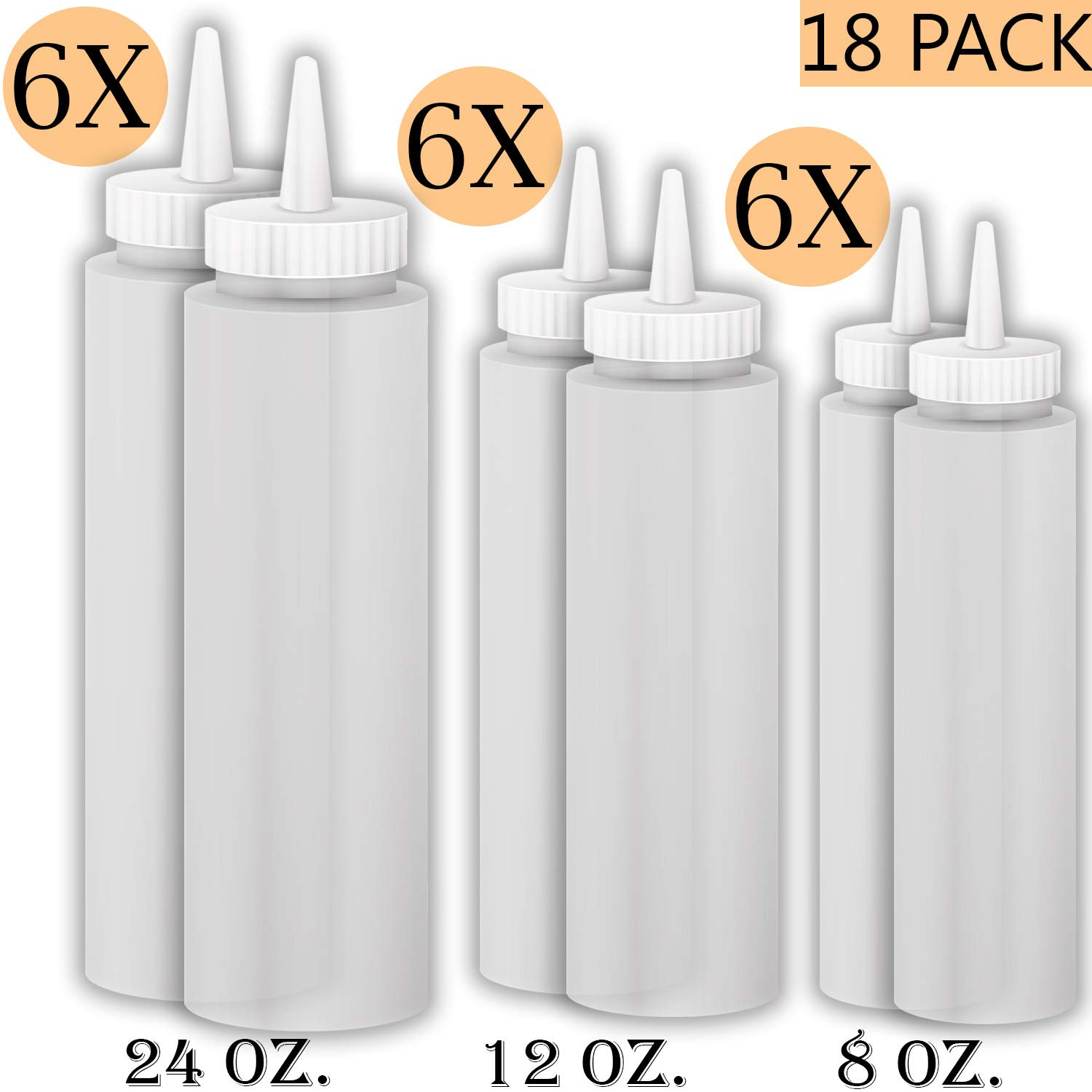 Squeeze Bottle Kit - Includes Squeeze Bottles for Sauces in 8oz, 12oz and 24oz, 6 of each size, Plastic Bottles Are Clear, Multi use - Sauce Bottles, squirt bottles, condiment bottle, 18 Pack.