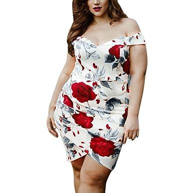 Longra Damen Mode Plus Größe Kurzarm Sommerkleid Knielang Kleid Rose ...