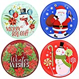 """Round Plastic Printed Resuable Christmas Food Storage Containers w/ Lids, 9"""" (Set of 4)"""