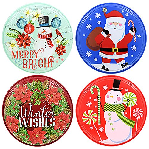 Round Plastic Printed Resuable Christmas Food Storage Containers with Lids, 9