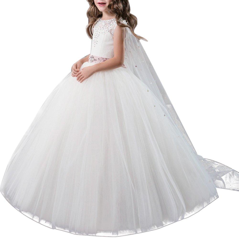 e4e1415ed09b1 Fille Appliques Robe de Princesse Longue en Dentelle Robe de Première  Communion Baptême Demoiselle d
