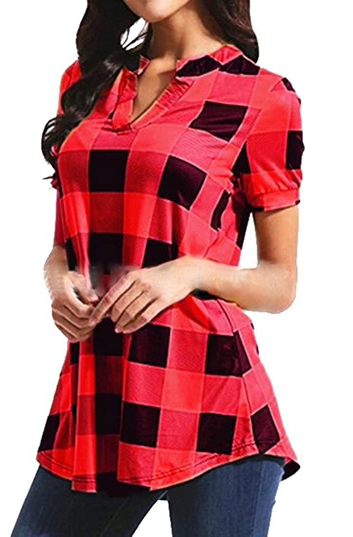 c42dd689 XiaoTianXin-women clothes XTX Womens Check V-Neck Short Sleeve Casual Plus  Size Top Blouse T-Shirt at Amazon Women's Clothing store: