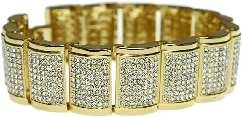 Amazon Com Hip Hop Bracelet 9 Inch X 23mm Wide Thick Men S Iced Bling Chunky Hiphop Jewelry Jewelry