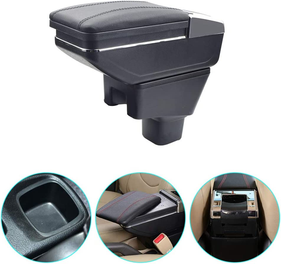 carado Custom fit Auto Center Console Armrest Double Storage Box for 2006-2018 Suzuki SX4 with 7 USB Ports Built-in LED Light Black