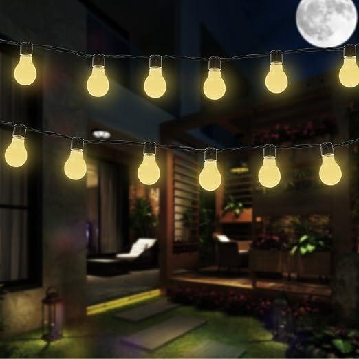 Bombilla Luces al AireLibre, EONHUAYU 3.5M 10 LED Bombillas Solares Luces de Cadena a Prueba de Agua con 2 Modos de Iluminación para Exteriores, Jardín, Decoraciones de Navidad Cálidas Luces Blancas: Amazon.es: