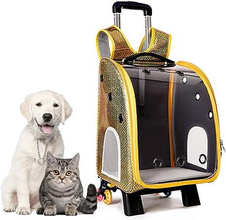 LKIHAH Mochila Trolley para Mascotas, Mochila Transparente para Perros y Gatos, Transpirable Poroso, Doble Hombro/Tirador Extraíble, Estuche para Mascotas,Amarillo: Amazon.es: Deportes y aire libre