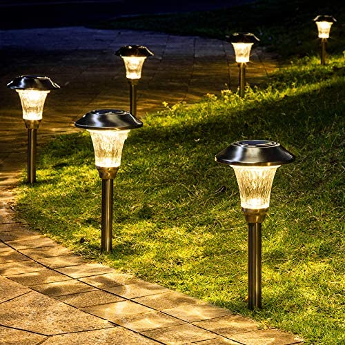 GIGALUMI 8 Pack Solar Pathway Lights, Solar Pathway Lights Outdoor Warm White, Waterproof Glass Stainless Steel Automatic Solar Landscape Lights for Patio, Yard, Lawn, Garden and Path Silver Finish
