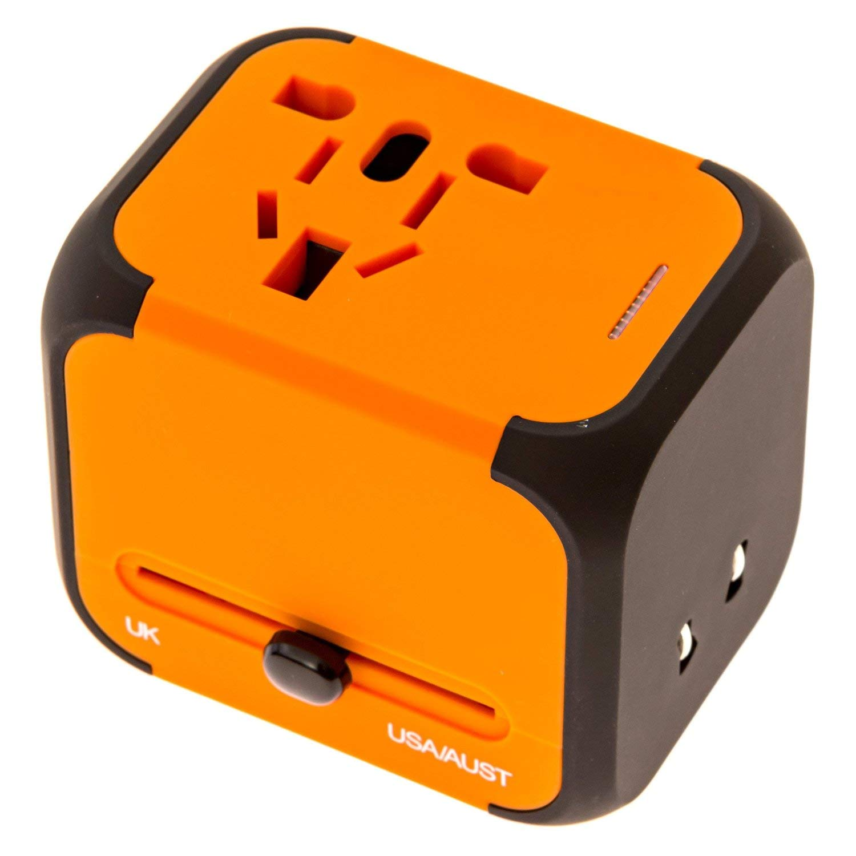 icyber Worldwide Travel Adapter, Premium Universal International Plug [US UK EU AU] with Dual USB Charging Ports & Universal AC Socket, Safety Fused (Orange)