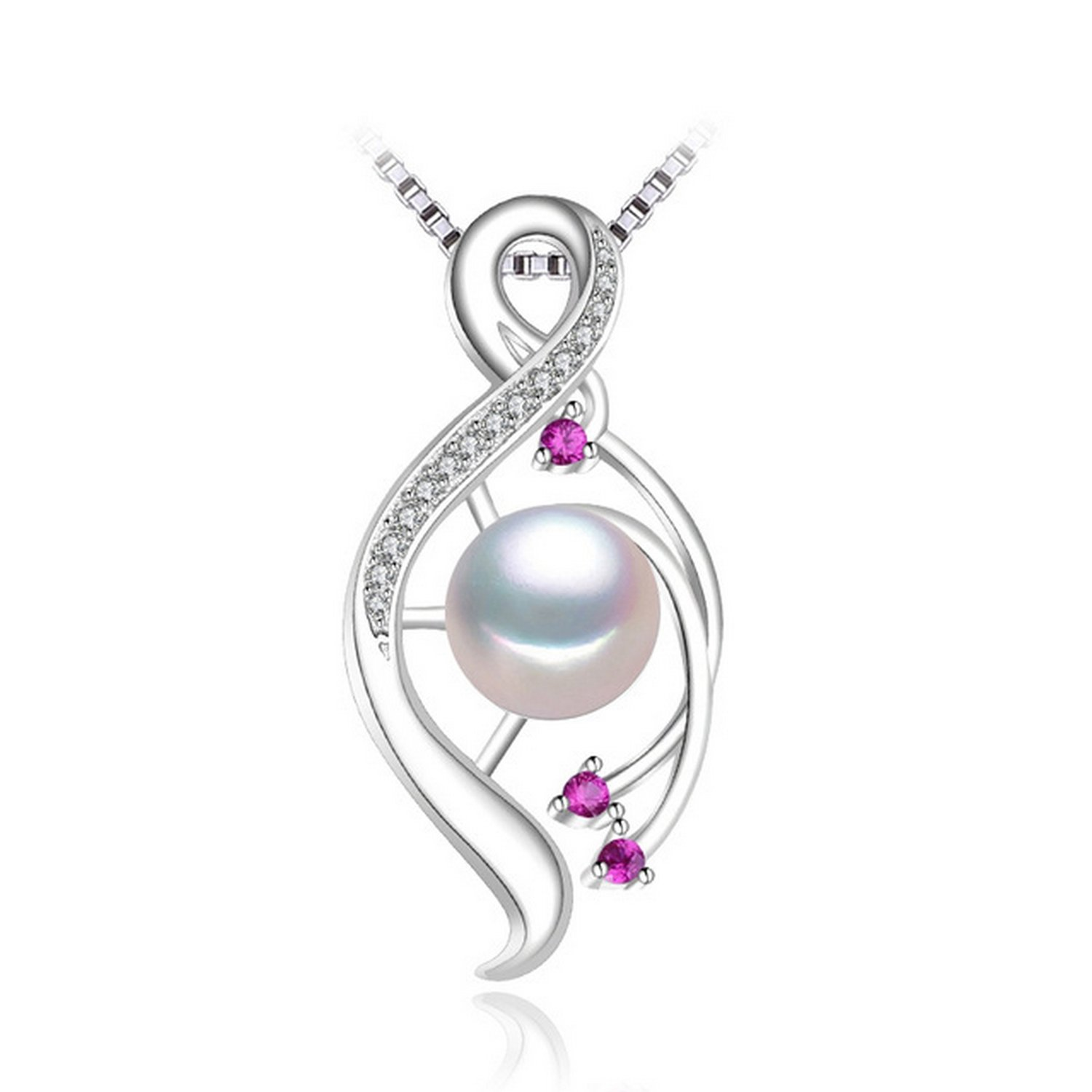 CS-DB Jewelry Silver Pearl Fashion Ruby Gift Chain Charm Pendants Necklaces