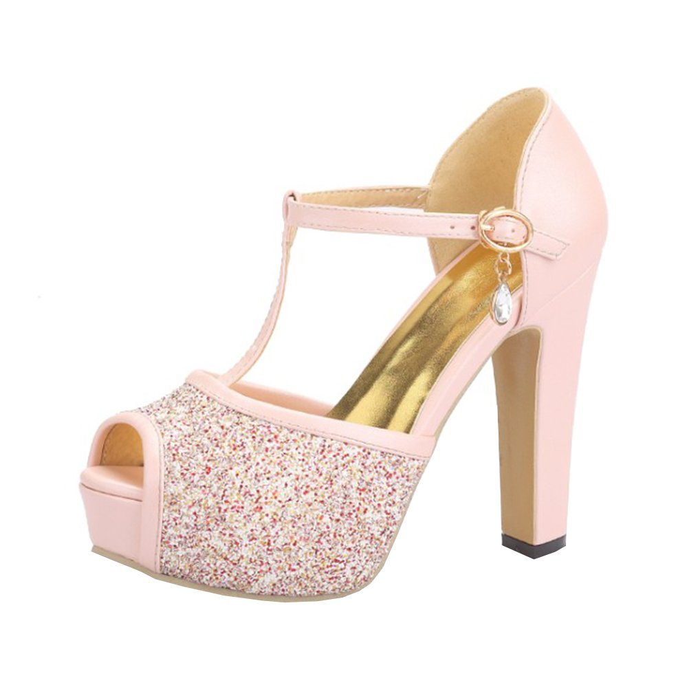 89e465cfd586 Agodor Womens Platform Peep Toe Ankle Strap Glitter Court Shoes High Block  Heel Sandals Summer Shoes Pink  Amazon.co.uk  Shoes   Bags