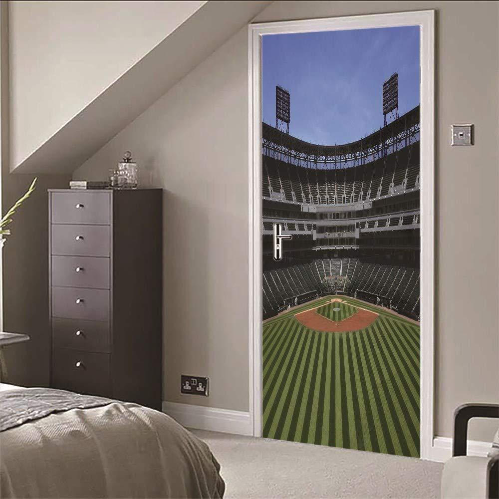 Zyyanaes 3D Door Stickers Wall Mural Door Sticker Mural Baseball Field for Bedroom Bathroom Self-Adhesive PVC Wall Sticker -77x200cm