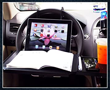 Universal Car Bracket Active Car Portable Mini Desk Notebook Stand Holder Multi Back Seat Laptop Tray Steering Wheel Computer Food Drink Holder Table Styling Mounts & Holder