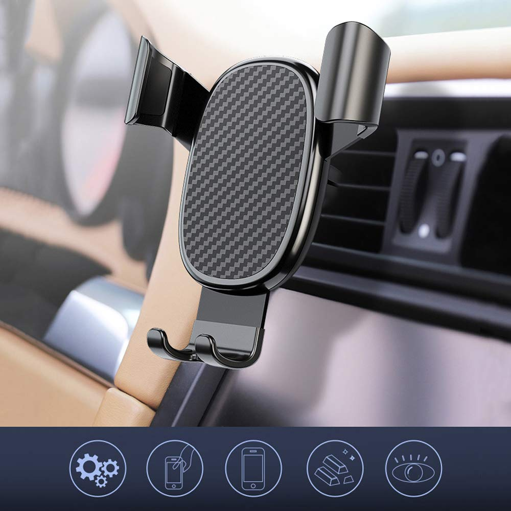 IQD Car Phone Holder Stand Gravity Car Mount Compatible iPhone 11 Pro Xs Max for Samsung S10 Note 10 for Huawei LG and More Carbon Fiber Texture Black