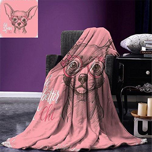 smallbeefly Dog Throw Blanket Girl Chihuahua Sketch Illustration with Quote Fashion Glasses Ribbons Puppy Warm Microfiber All Season Blanket for Bed or Couch Pale Pink Army Green