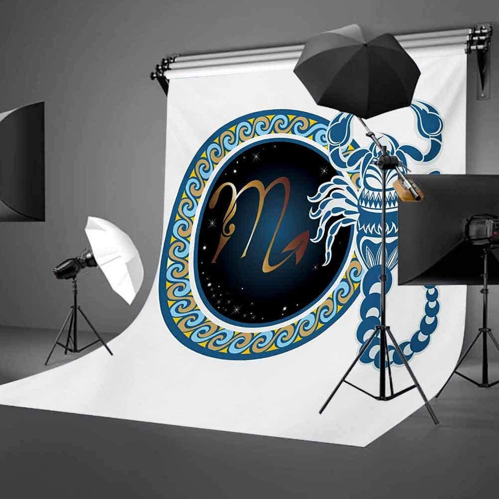 Zodiac Scorpio 10x15 FT Photography Backdrop Circle Shapes with Waves Pattern and an Ornamental Scorpion Background for Child Baby Shower Photo Vinyl Studio Prop Photobooth Photoshoot