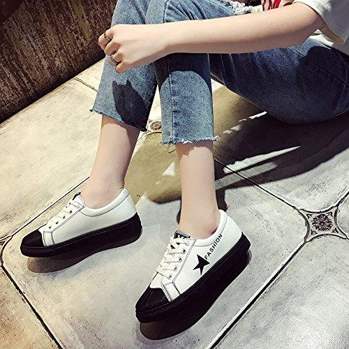 Mujeres Deportivos Ocasionales Deporte Zapatillas de Blanco Cuero Suela Zapatos de de Blanda para Transpirables HXq4q8wU