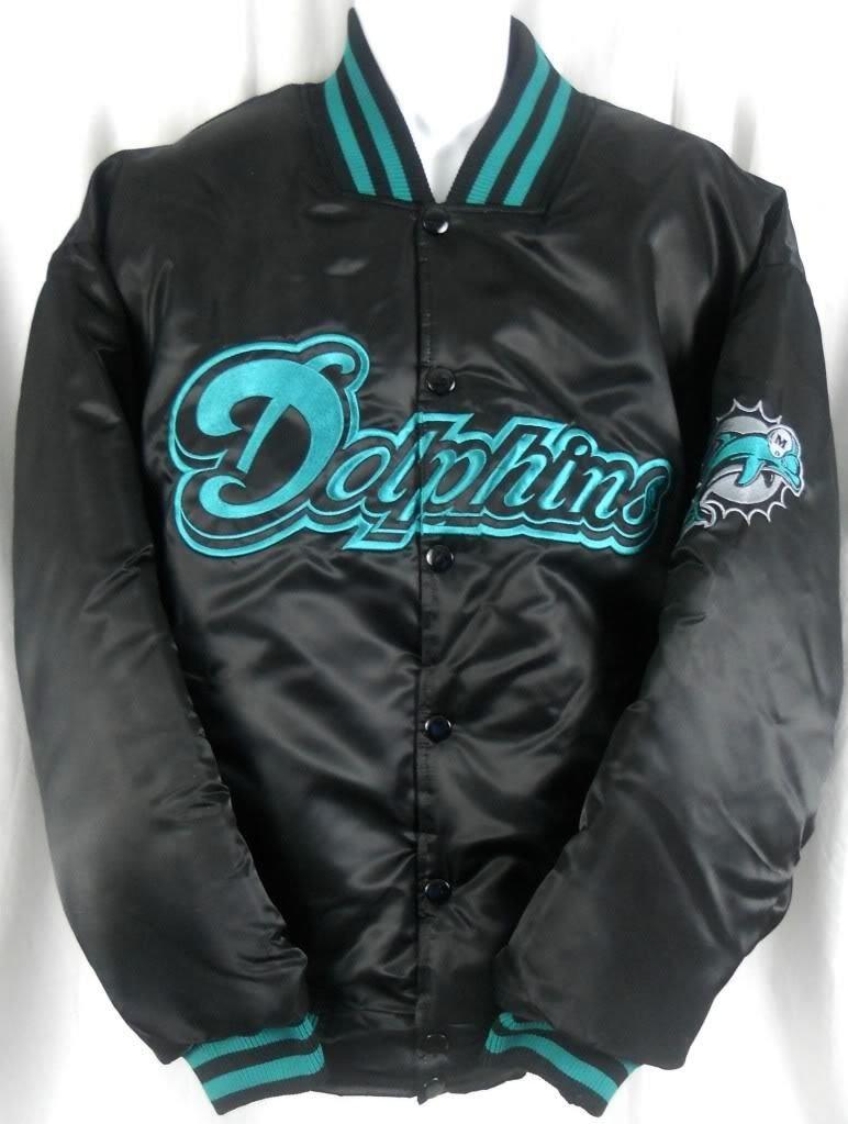 Miami Dolphins NFLチームアパレル刺繍ブラックサテンジャケットビッグトールサイズ MT  B06WVZH4K1