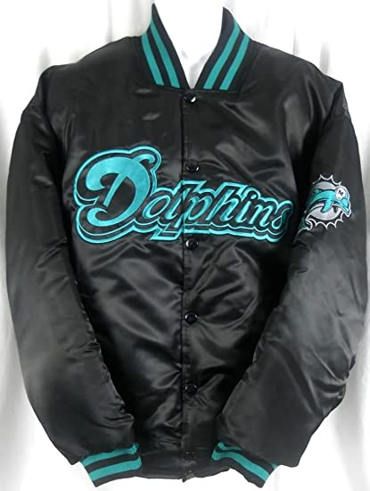 new style 5e879 07d53 Miami Dolphins NFL Team Apparel Embroidered Black Satin Jacket Big & Tall  Sizes