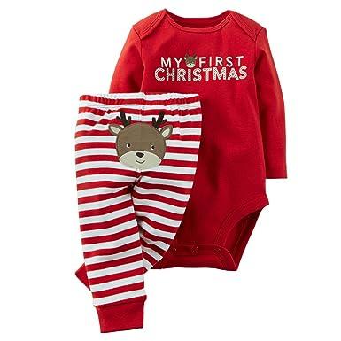 9ddbd1f70 GRNSHTS Baby Girls 2 Pieces My First Christmas Romper + Striped Pant Set (3-