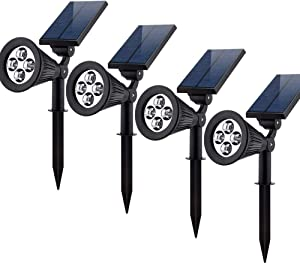 Siher Solar Powered, Waterproof Landscape Lighting, Auto On/Off Outdoor LED Lamp, 4(Pack)