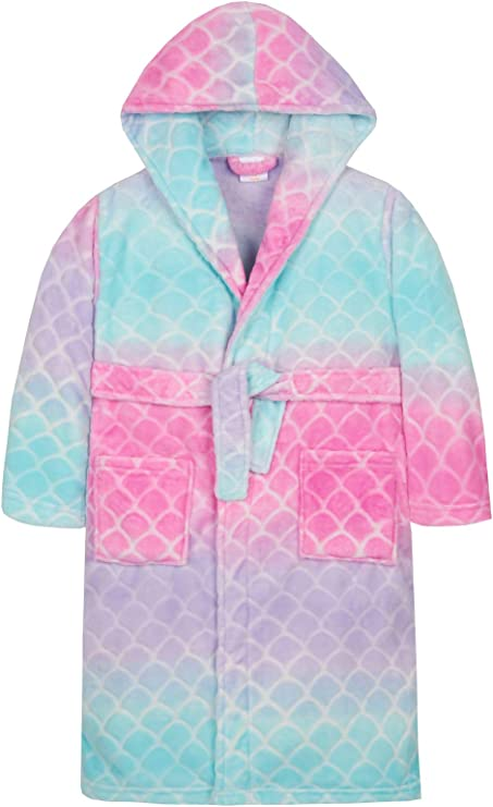 Boys Size 3-8 Coral Fleece Dressing Gown Robe Hooded Blue Bird Print