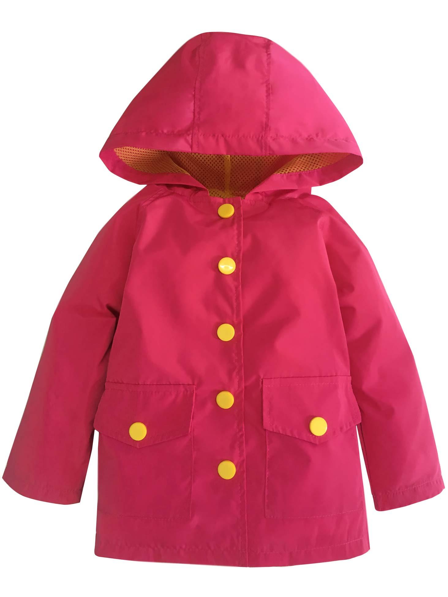 YNIQ Girls Boys Coated Raincoat for Toddler Girls, Hot Pink, 3T